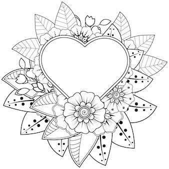 Mehndi bloem met frame in de vorm van een hart in etnische oosterse stijl kleurplaat