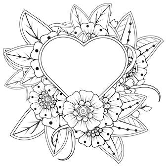 Mehndi-bloem met frame in de vorm van een hart