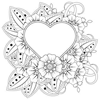 Mehndi bloem met frame in de vorm van hart in etnische oosterse stijl doodle ornament kleurboek pagina