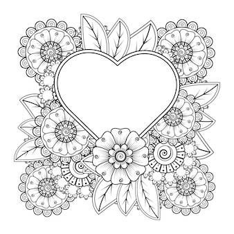 Mehndi bloem met frame in de vorm van hart voor henna mehndi tattoo decoratie