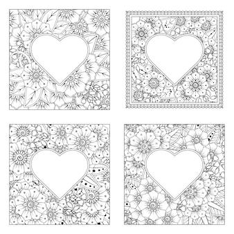 Mehndi-bloem met frame in vorm van hart in etnische oosterse stijl kleurplaat