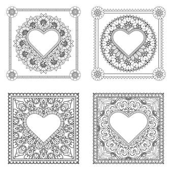 Mehndi bloem met frame in vorm van hart mehndi bloem ornament in etnische oosterse stijl kleurplaat