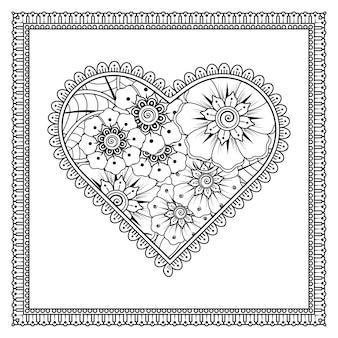 Mehndi-bloem met frame in vorm van hart.