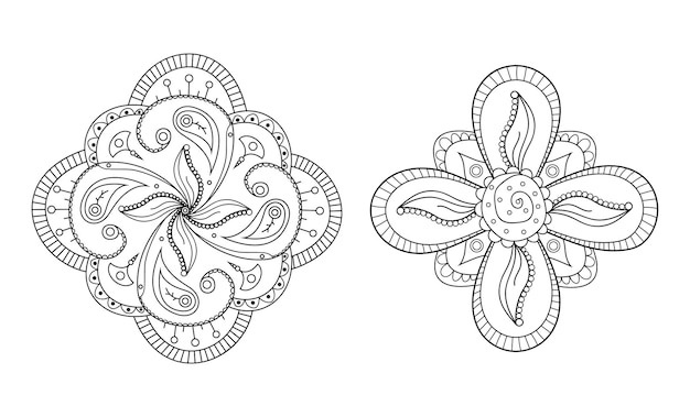 Mehndi bloem ronde ornament henna hand getekende tattoo mandala etnische oosterse bloemendecoratie