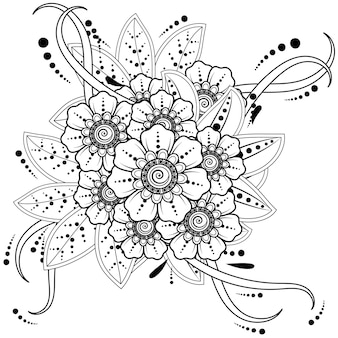 Mehndi bloem voor henna doodle ornament