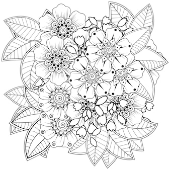 Mehndi bloem voor henna geïsoleerd op wit