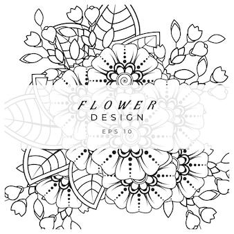 Mehndi bloem voor henna mehndi tattoo decoratie kleurboek pagina