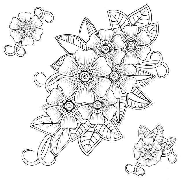 Mehndi-bloem voor henna-tekening en tatoeage. decoratie in etnische oosterse, indiase stijl.