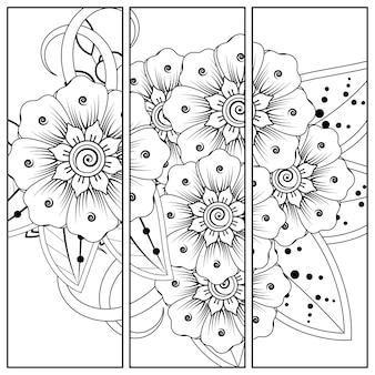 Mehndi bloemdecoratie. decoratief ornament in etnische stijl. kleurplaat.