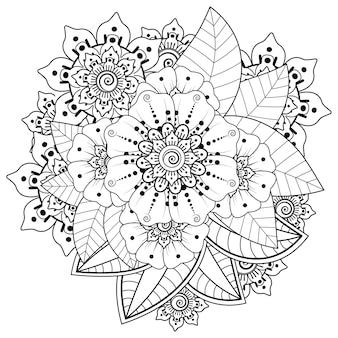 Mehndi bloemdecoratie in etnische oosterse, indiase stijl. doodle sieraad. overzicht hand tekenen illustratie. kleurboek pagina.