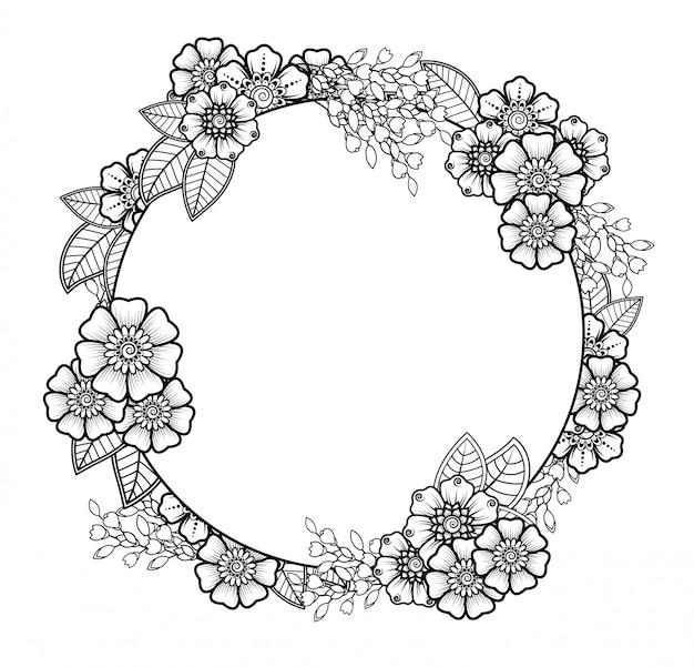 Mehndi bloemdecoratie in etnische oosterse, indiase stijl. doodle sieraad. overzicht hand tekenen illustratie.