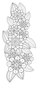 Mehndi-bloemdecoratie in etnische oosterse, indische stijl. doodle sieraad.