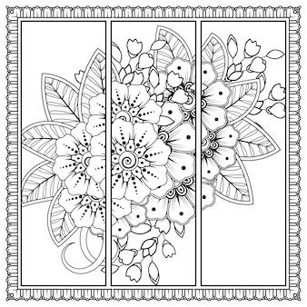 Mehndi bloemdecoratie in etnische oosterse stijl. doodle sieraad. kleurplaat.