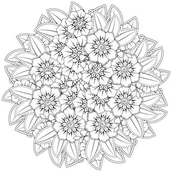 Mehndi bloemen in etnische stijl. overzicht hand getrokken kleurplaat.