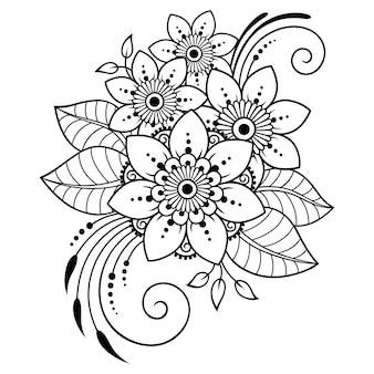 Mehndi bloemenpatroon en mandala voor henna tekenen en tatoeage.