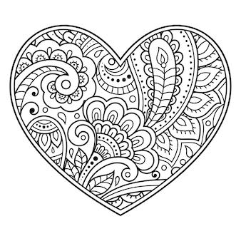 Mehndi bloemenpatroon in de vorm van een hart. decoratie in etnisch oosterse, indiase stijl. kleurboek pagina.
