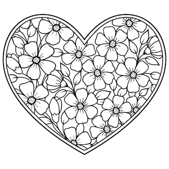 Mehndi bloemenpatroon in de vorm van een hart. decoratie in etnische oosterse, indiase stijl.