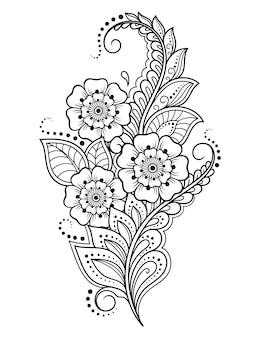 Mehndi bloemenpatroon voor henna tekenen en tatoeage. decoratie in etnisch oosterse, indiase stijl. krabbel sieraad. overzicht hand tekenen vectorillustratie.
