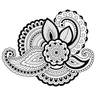 Mehndi bloemenpatroon voor henna-tekening. decoratie in etnische oosterse, indiase stijl. doodle ornament. een overzicht van hand tekenen.