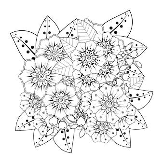Mehndi bloemstuk. decoratief ornament. overzicht hand tekenen kleurboekpagina.