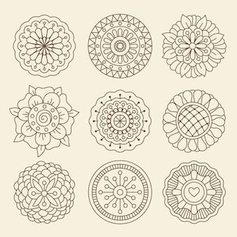Mehndi indian henna tattoo bloemen