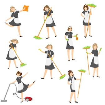Meid poseren in verschillende situaties ingesteld. illustratie in platte cartoon stijl