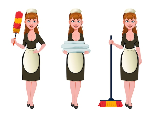 Meid, schoonmaakster, glimlachende schoonmaakster, set van drie poses