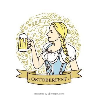 Meisje achtergrond met traditionele oktoberfest jurk en een bier