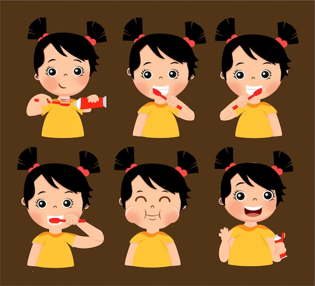 Meisje avatar tanden poetsen