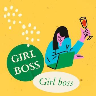 Meisje baas sociale media sjabloon bewerkbare vector, vrouw karakter virtuele viering