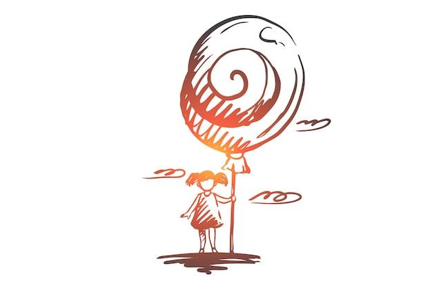 Meisje, ballon, gelukkig, kindertijd, kindconcept. hand getekend meisje met grote ballon concept schets.