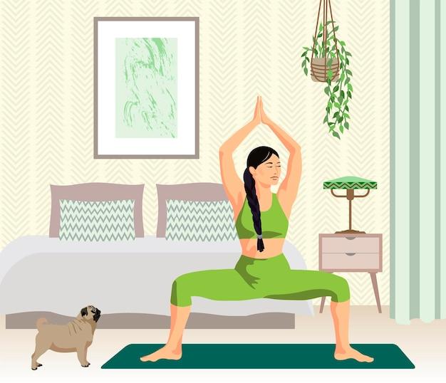 Meisje beoefenen van yoga in haar slaapkamer met schattige hond platte vectorillustratie