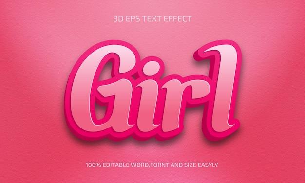 Meisje bewerkbaar 3d-tekststijleffect Premium Vector