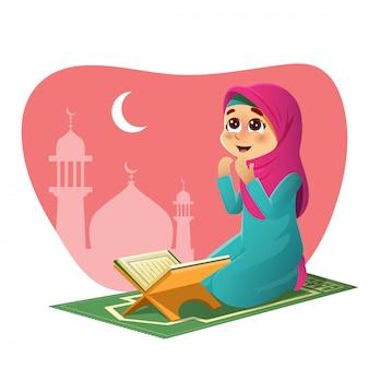 Meisje bidt voor allah