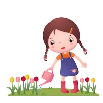 Meisje bloemen water geven
