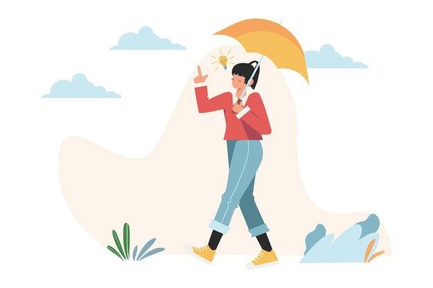 Meisje brainstormen onder de paraplu om een idee te vinden