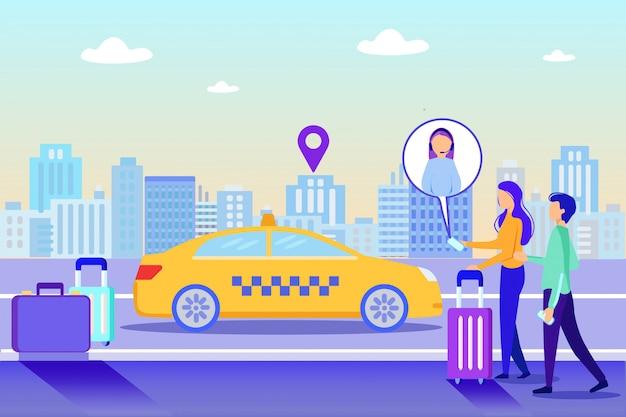 Meisje call online ondersteuning bestel taxi taxi levering