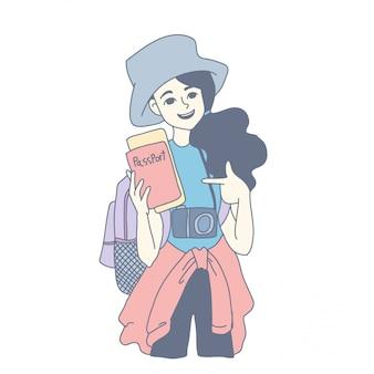 Meisje characterdesign van vector