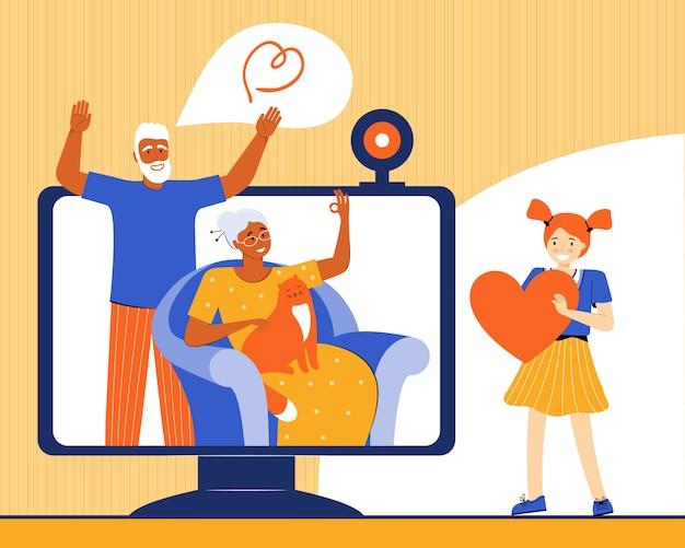 Meisje communiceert met haar grootouders via een videogesprek. een ouder echtpaar praat via internet met hun kleindochter. technologie en communicatie tussen familieleden. vlakke afbeelding
