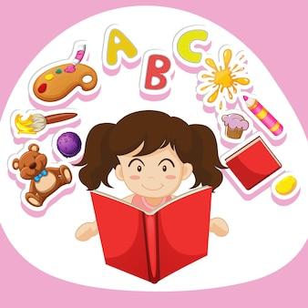 Meisje dat alleen een boek leest