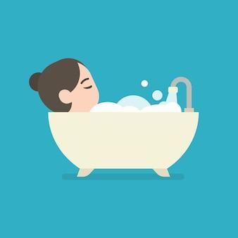 Meisje dat een bad in een badkuip, leuk karakter, vectorillustratie neemt.