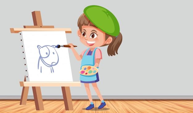 Meisje dat een beeld in een ruimte schildert