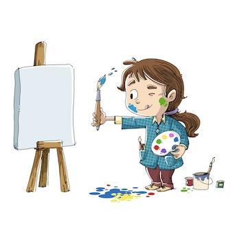 Meisje dat een beeld schildert