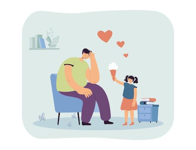 Meisje dat haar droevige vader kalmeert. vlakke afbeelding