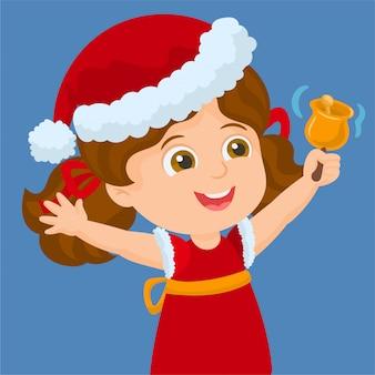 Meisje dat haar kerstmisklok belt