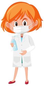 Meisje dat in artsenkostuum de flesvoorwerpen van het handdesinfecterende middel houdt die op witte achtergrond worden geïsoleerd