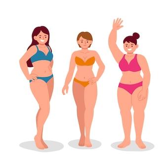 Meisje dat in bikiniillustratie wordt geplaatst