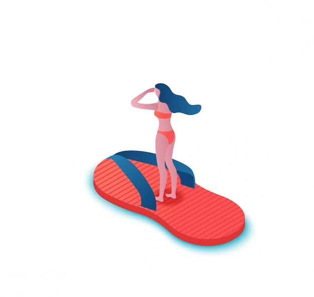 Meisje dat in pantoffel, tropische kuuroordachtergrond drijft