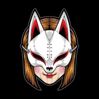 Meisje dat kitsune-masker draagt