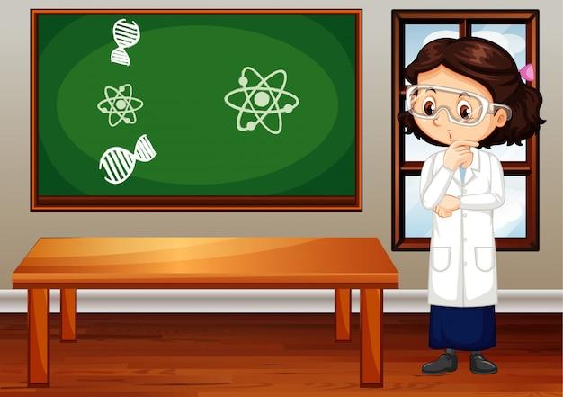 Meisje dat laboratoriumtoga en beschermende brillen in de ruimte draagt